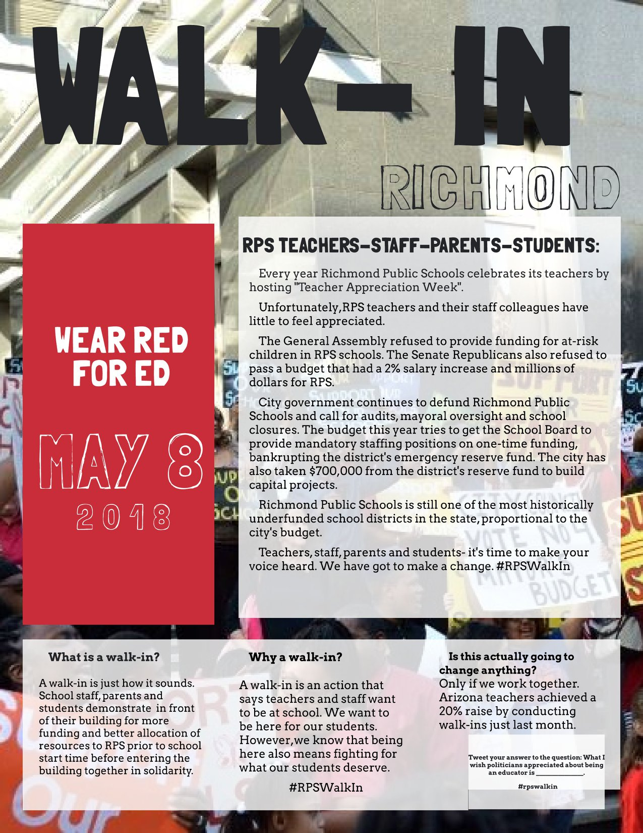 "Poster for the May 8th RPS Walk-in. ""Wear red for ed"""